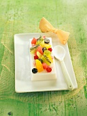 Almond jelly with fresh fruit