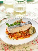 Cod and diced vegetables