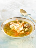 Spiny lobster and shrimp soup