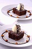 Chocolate and almond brownie dessert
