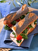 Smoked turkey poppyseed baguette sandwich