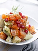 Gravlax salmon, artichoke hearts and pomegranate salad