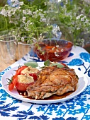 Veal with gorgonzola with savoury tomato crumble