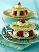 Pistachio and raspberry Dacquoise