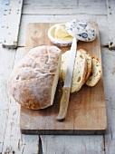 Round white bread loaf