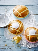 Almond hot cross buns