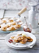 Mini pancakes with strawberry jam