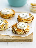 Goat's cheese on toasted hot cross buns