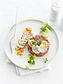 Beef tartare, scallop and mushroom carpaccio