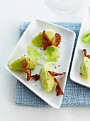 Brussels sprout mousse with fried raw ham