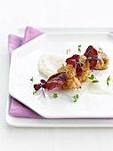 Sweetbreads,beetroot crisps and cauliflower mash