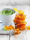Sweet potato crisps and broccoli dip