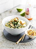 Noodles with eggs,bok choy and mushrooms