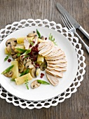 Guinea-fowl supreme with pasta,mushrooms and diced beetroot