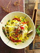 Tagliatelles with mackerels and chili peppers