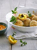 Polenta and butter herb balls