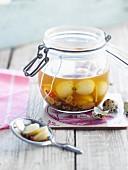 Jar of pickled quail's eggs