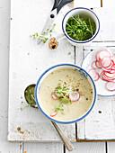 Radish and ricotta soup