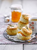 Scones with apricot jam and rosemary