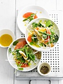 Calamary,green asparagus and grapefruit salad
