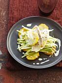 White fish fillet,leeks with confit citrus