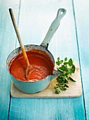 Tomato sauce in a pan