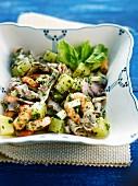 Potato, shrimp and octopus salad