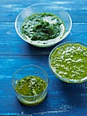 Three green sauces