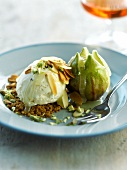 Almond ice cream and roasted fig