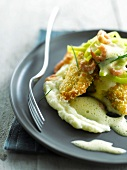 Fried plaice with shrimp zabaglione,stewed leeks and mashed potatoes