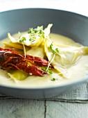 Raviolis with lobster bisque