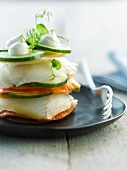 Cucumber,halibut and salmon mille-feuille