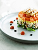 Tomato, shrimp, egg and apple timbale