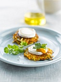 Potato and pumpkin röstis with goat's cheese