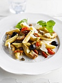 Penne with artichokes, black olives and peppers