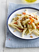 Pasta with sun-dried tomatoes,basil,parmesan and pine nuts