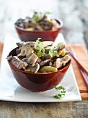 Lamb, mushroom and mini corn on the cob wok