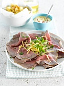 Cold roast beef with ham mayonnaise and sauteed potatoes