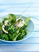Broccoli salad with a soft-boiled egg and tarragon oil