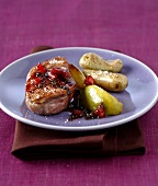 Duck breast with green pepper and caramel vinaigar,roasted apples and potatoes