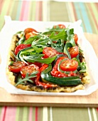 Tapenade,rocket and tomato savoury tart
