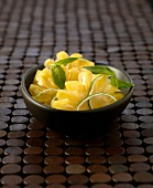 Pineapple carpaccio with lime and basil