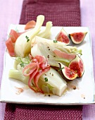 Fennel and fig salad with sherry vinaigar,ginger and Serrano ham