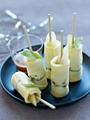 Morbier, pear and verbana rolled appetizers