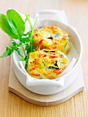 Zucchini and carrot mini flans