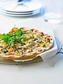 Zucchiini and feta thin pastry tart