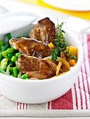 Stewed lamb with vegetable fricassée