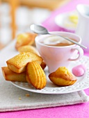 Financiers and Madeleines with a cup of tea