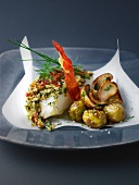 Crumble-style halibut with ceps and new potatoes