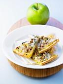 Apple, roquefort and walnut thin tart
